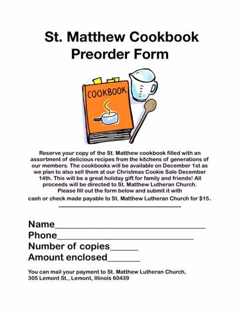 cookbook order form